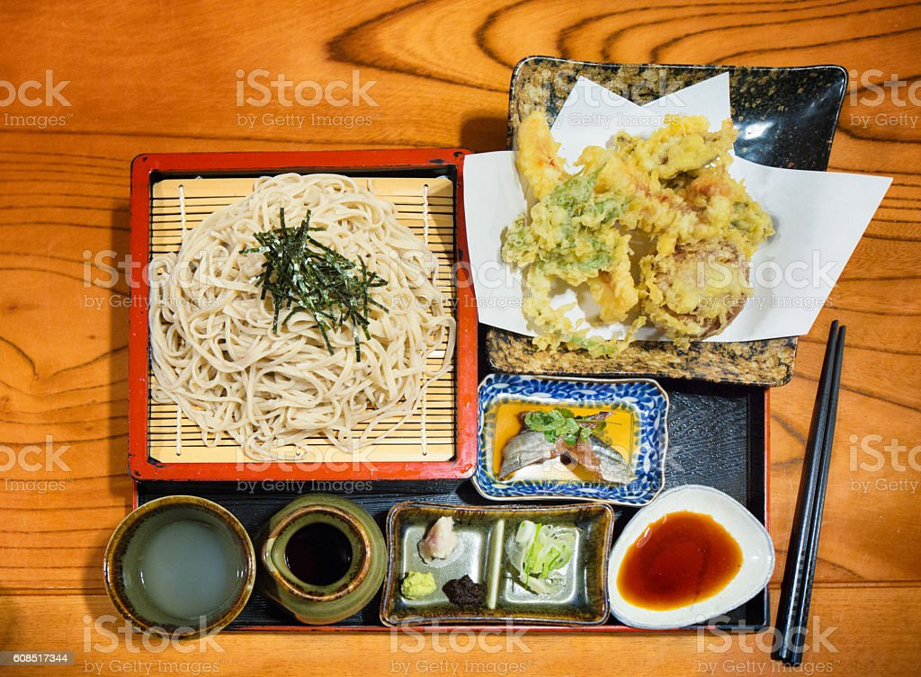 Soba noodles and tempura Japanese meal stock photo