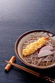 Soba ramen with kamaboko and prawn tempura