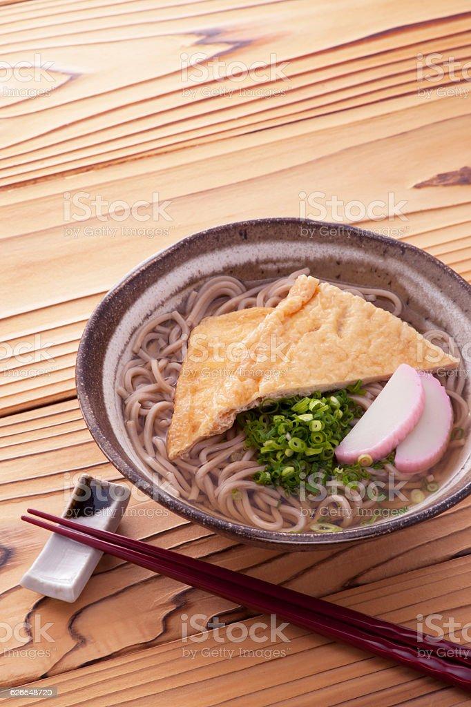 Soba ramen with kamaboko stock photo