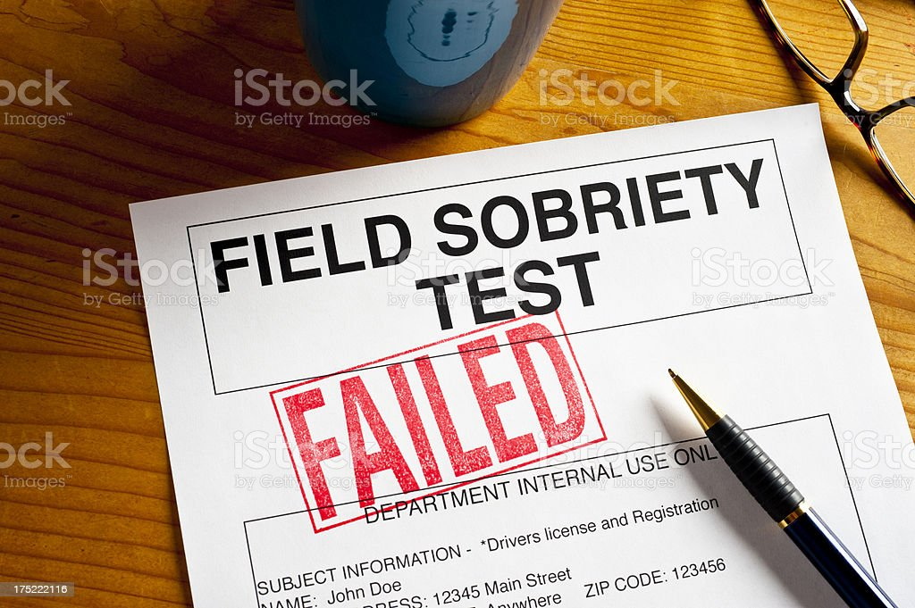 Sobriety Test - FAILED stock photo