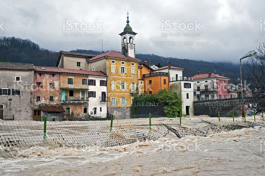 Soca River Floods on Christmas in Kanal City Slovenia Europe royalty-free stock photo