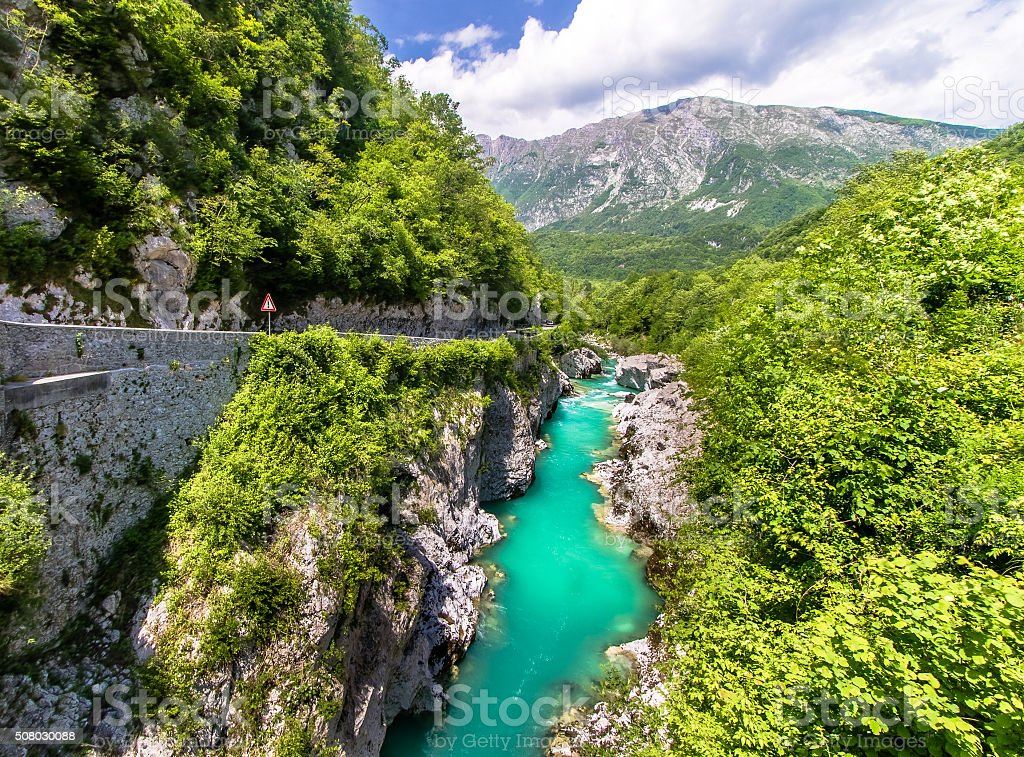 Soca River gorge stock photo