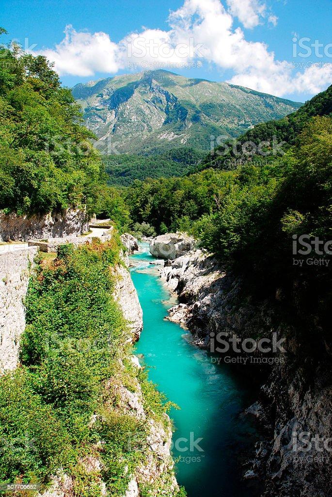 Soca River Near Kobarid stock photo