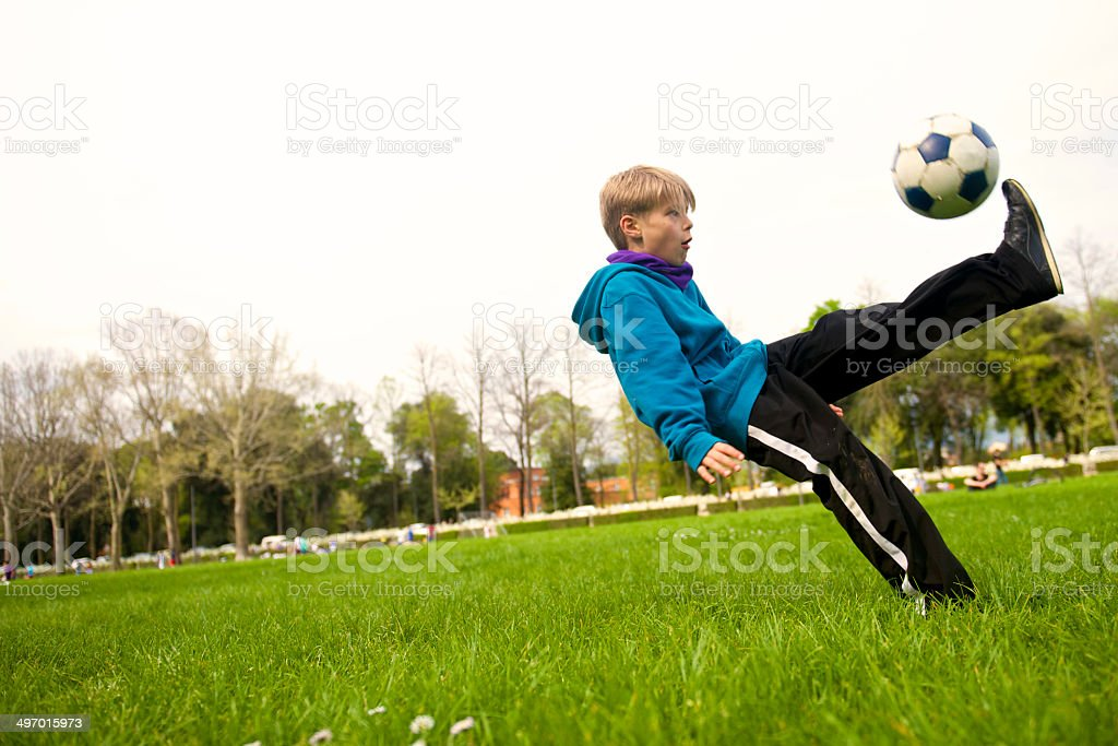 soccer action at the park royalty-free stock photo