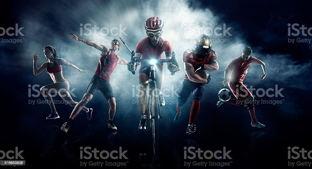 Soccer, American football, Javelin, Cycle, Athletics stock photo