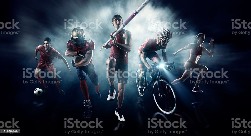 Soccer, American football, Pole vaulting, Cycle, Athletics stock photo