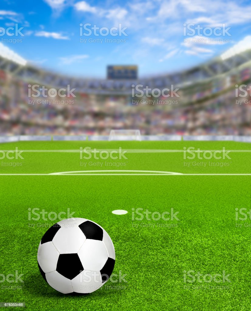 Soccer Arena With Ball on field and Copy Space stock photo