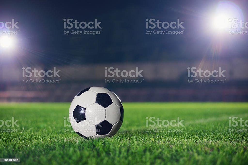 Soccer at night stock photo