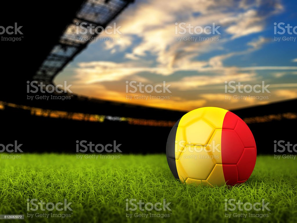 Soccer Background with Ball and Belgium Flag stock photo