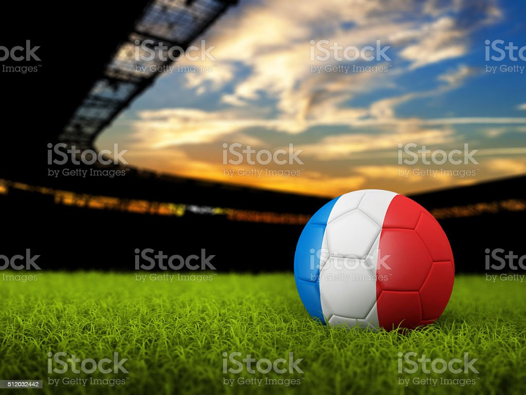 Soccer Background with Ball and France Flag stock photo