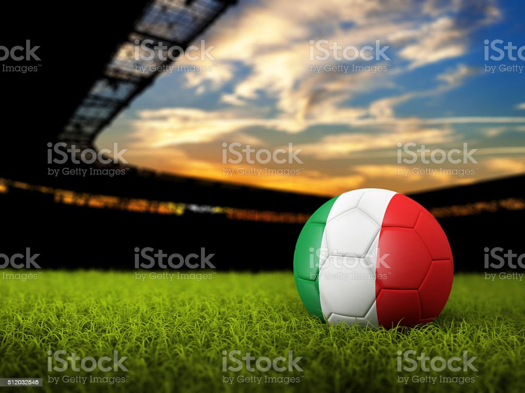 Soccer Background with Ball and Italy Flag stock photo