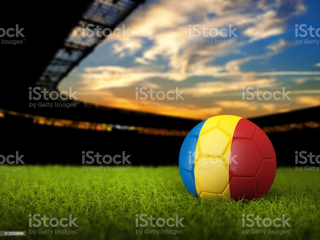 Soccer Background with Ball and Romania Flag stock photo