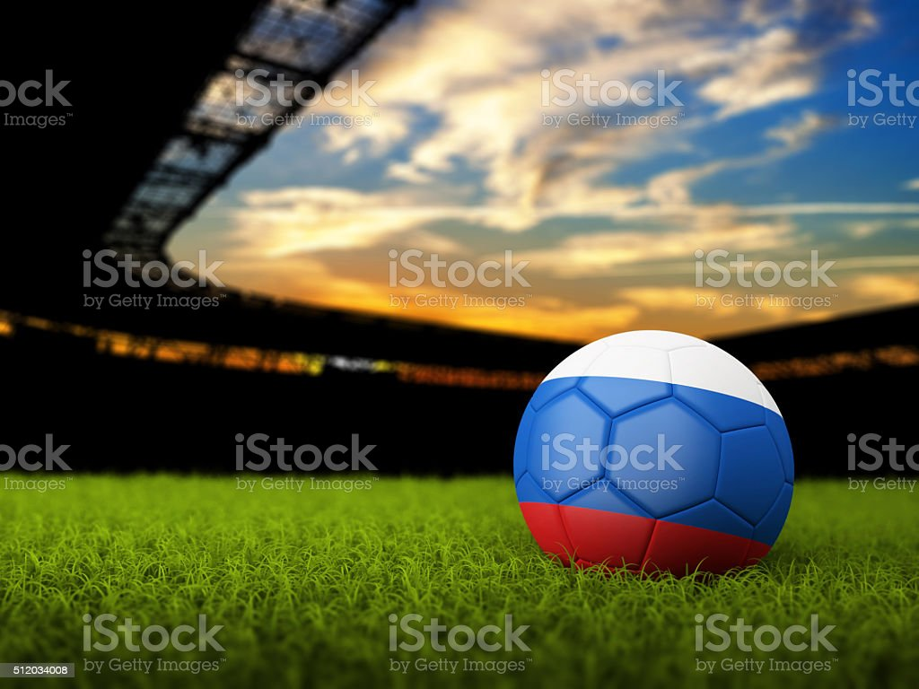 Soccer Background with Ball and Russia Flag stock photo