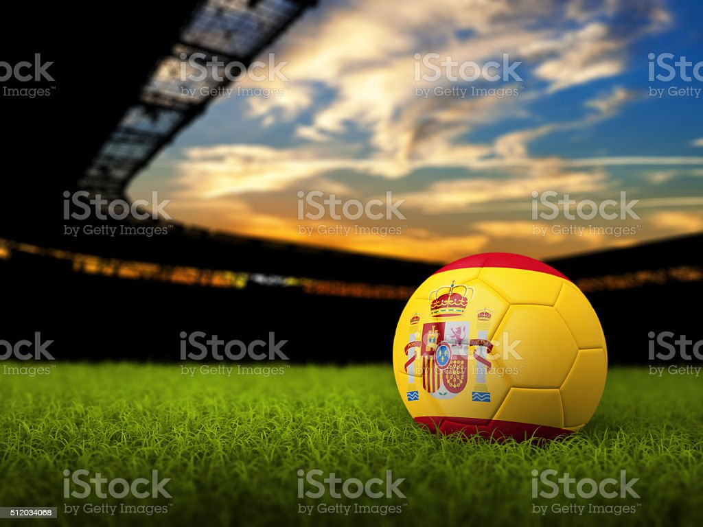 Soccer Background with Ball and Spain Flag stock photo