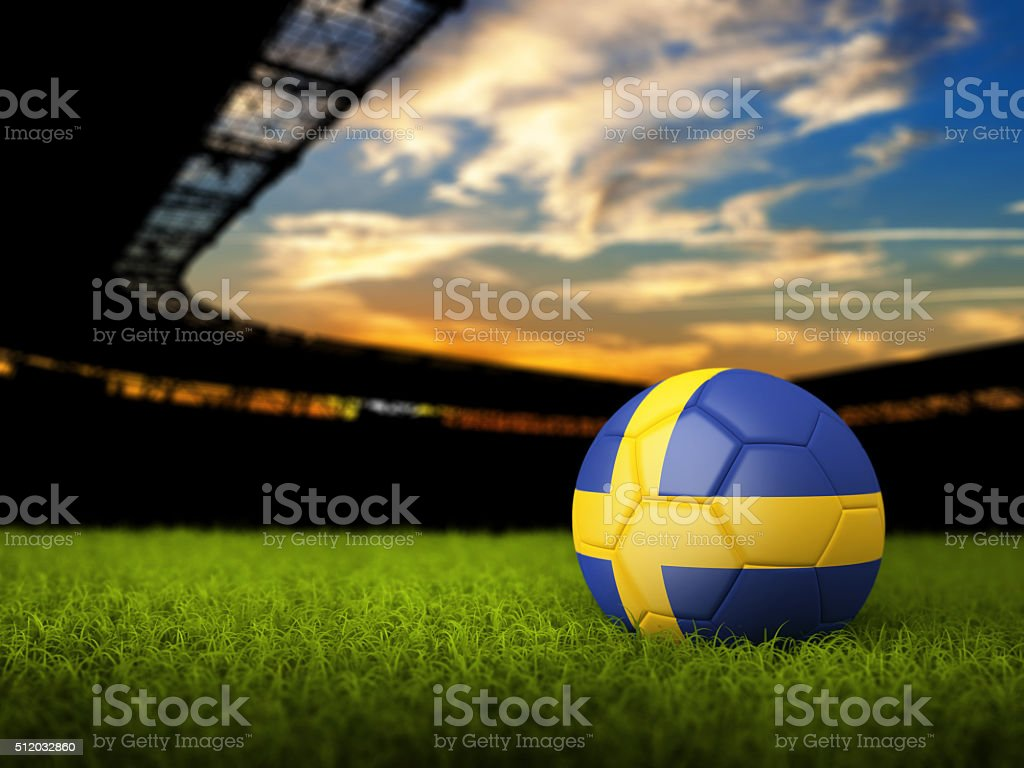 Soccer Background with Ball and Sweden Flag stock photo