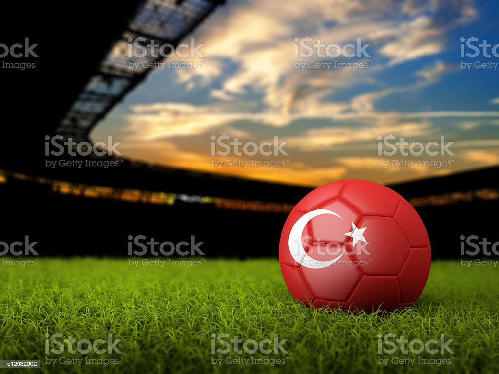 Soccer Background with Ball and Turkey Flag stock photo