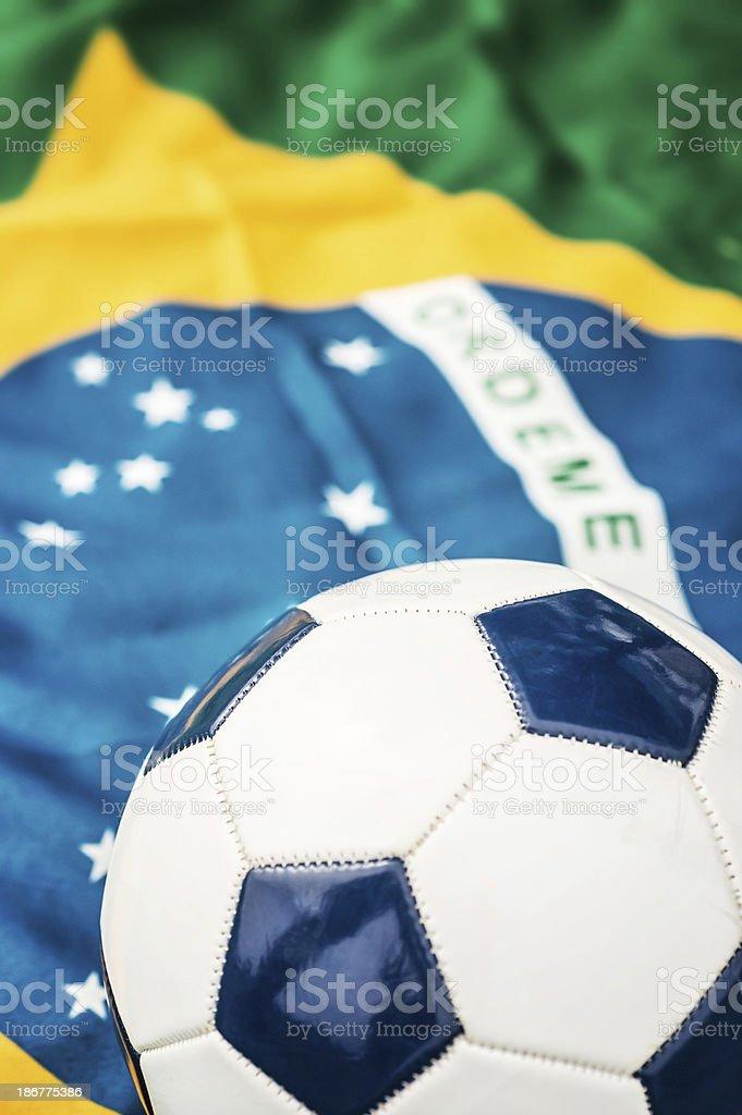 Soccer Ball and Brazilian Flag royalty-free stock photo