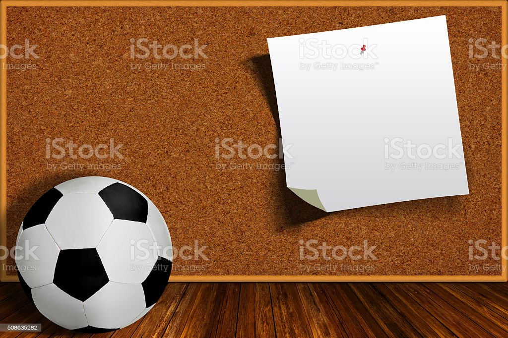 Soccer Ball and Cork Board With Copy Space stock photo