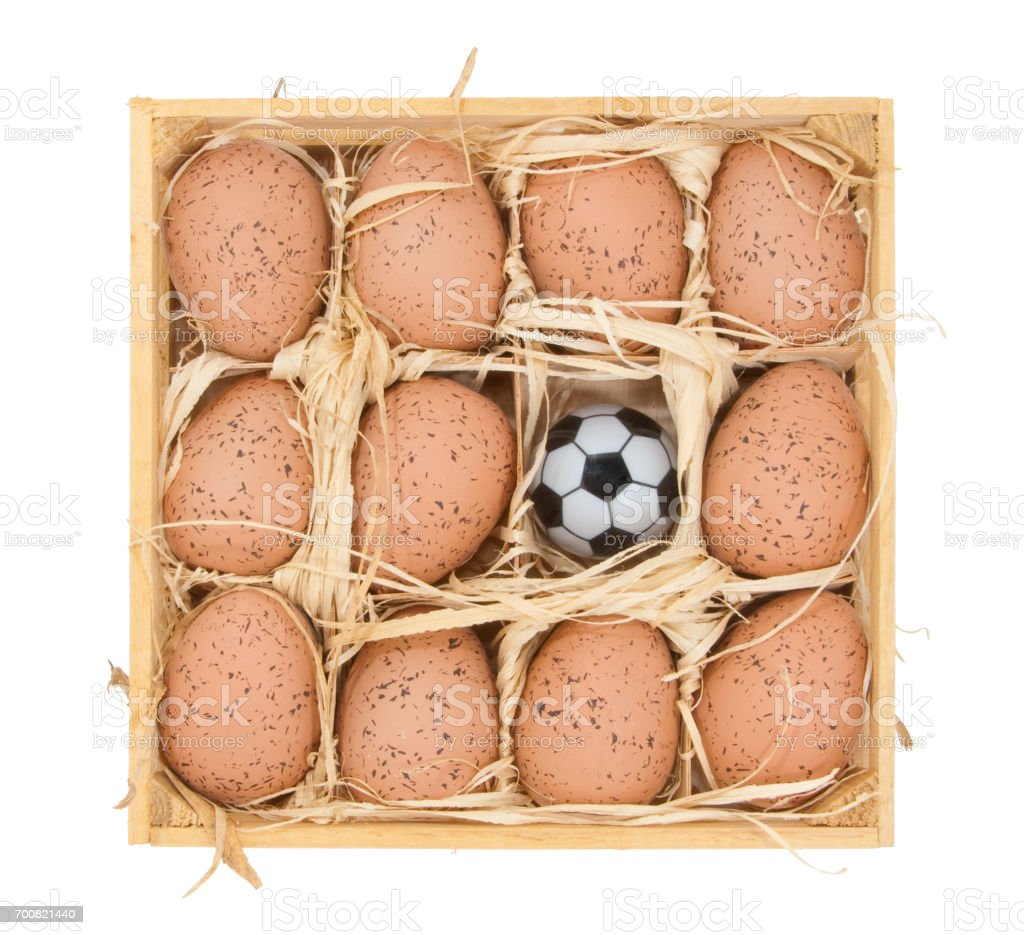 Soccer ball and eggs stock photo