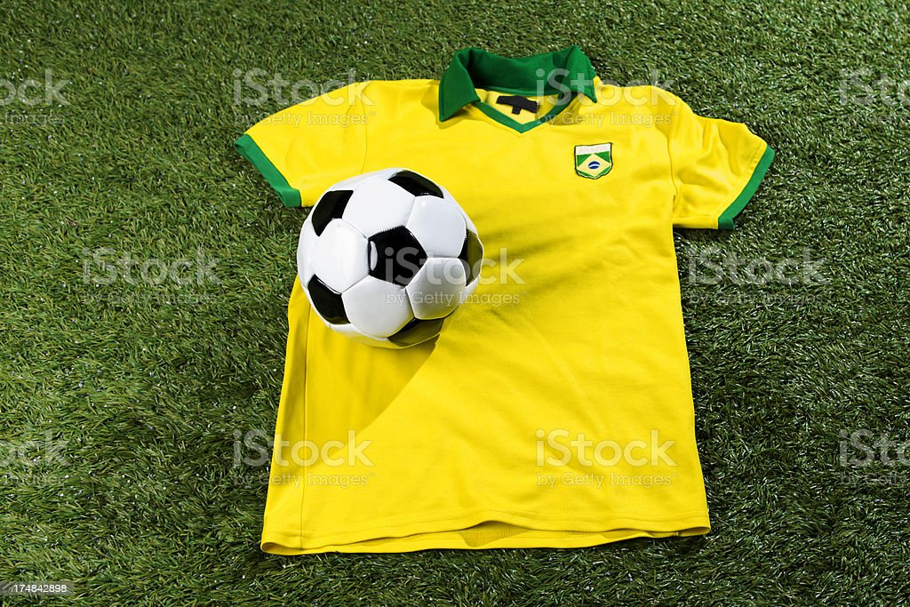Soccer ball and jersey royalty-free stock photo