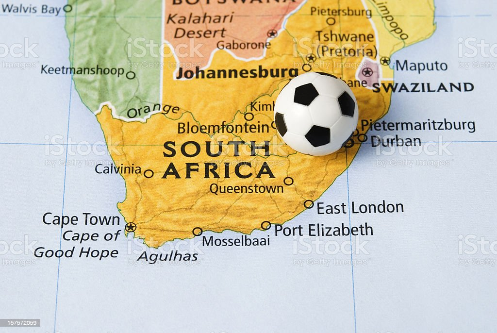 Soccer (football) ball and map of South Africa - II royalty-free stock photo