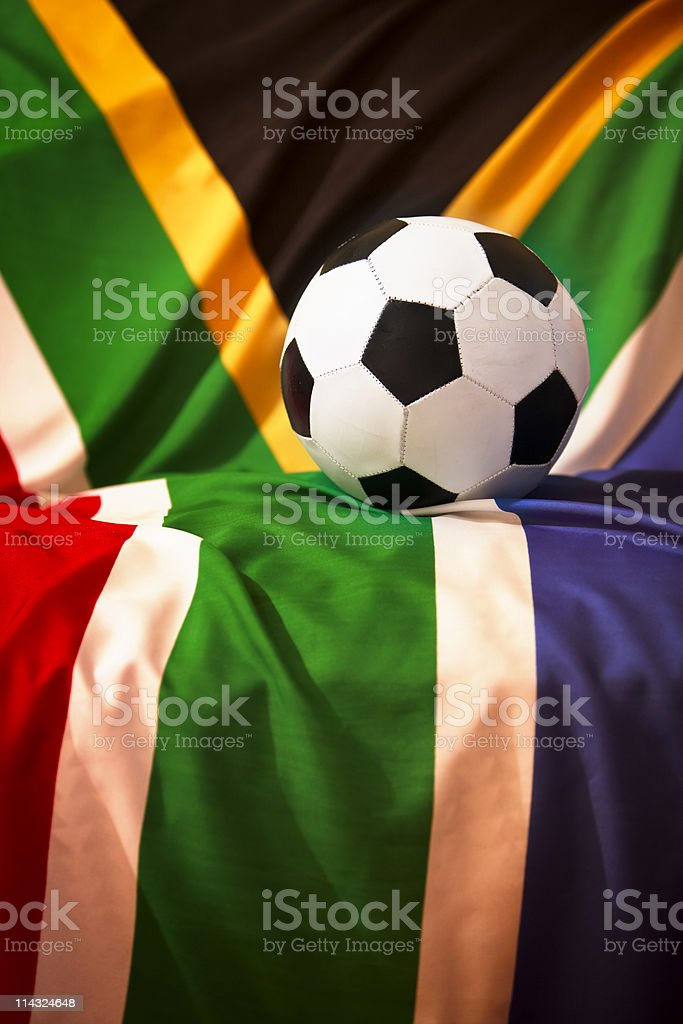 Soccer ball and South African flag for royalty-free stock photo