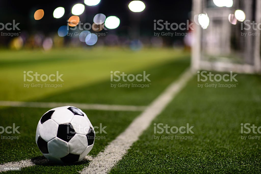 soccer ball at the corner stock photo