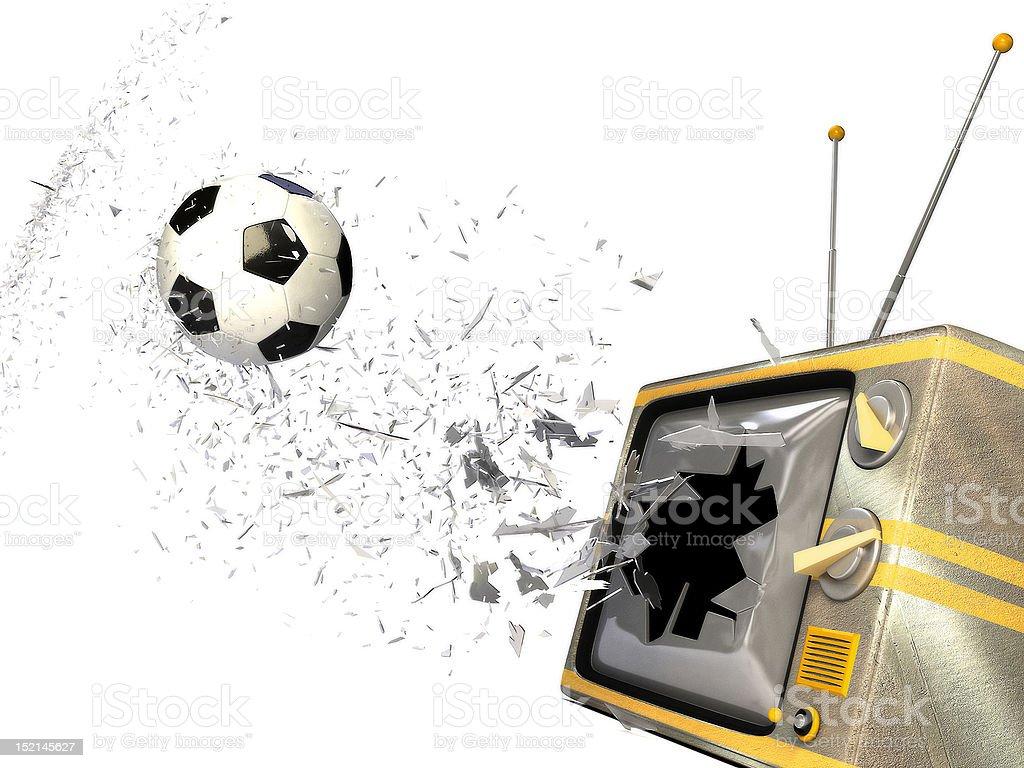 soccer ball breaking screen of tv set royalty-free stock photo