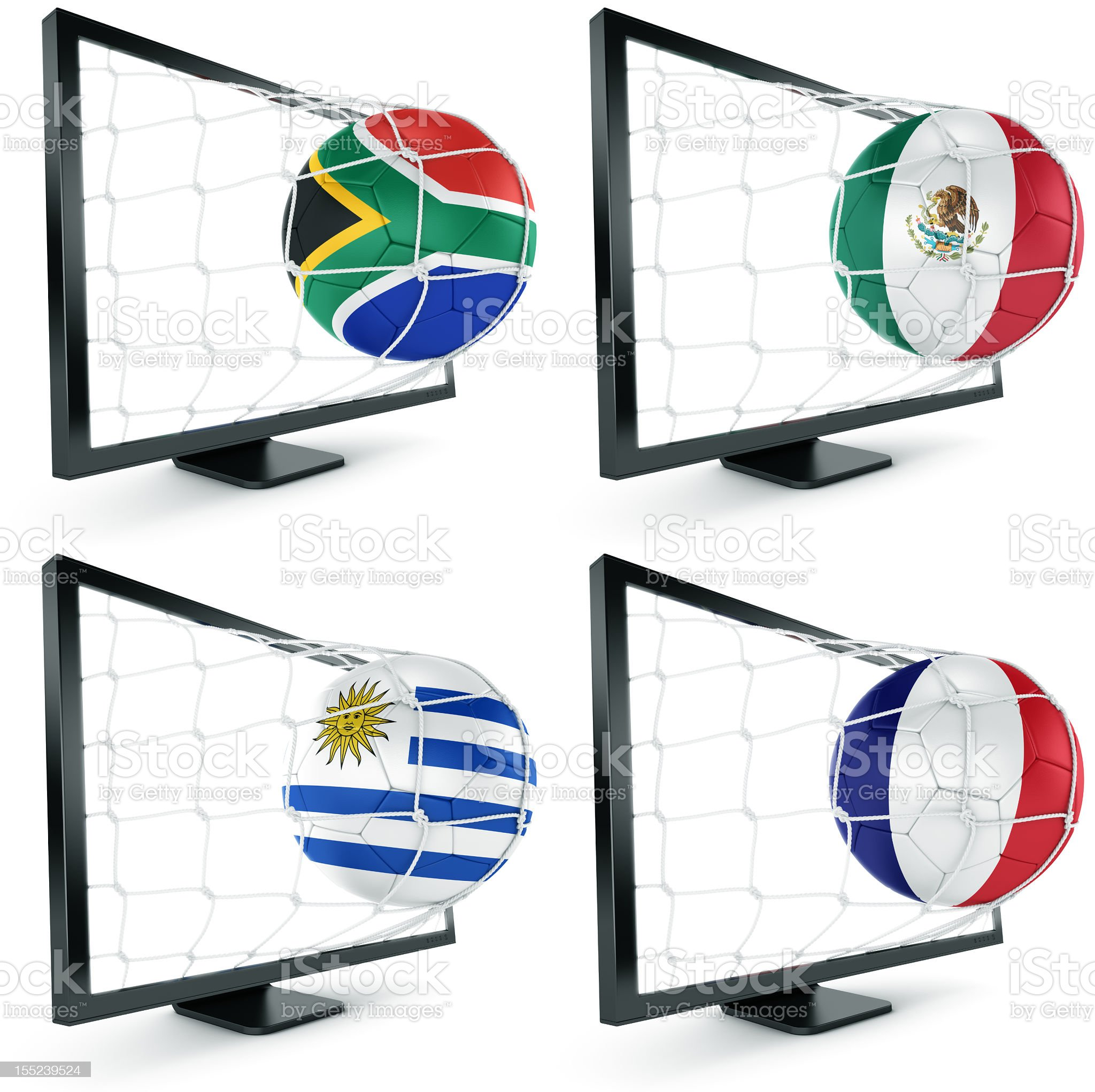 Soccer ball coming out of monitor royalty-free stock photo
