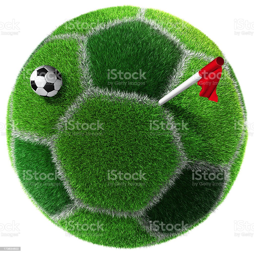 Soccer ball covered with grass. Sidelines and corner flag royalty-free stock photo