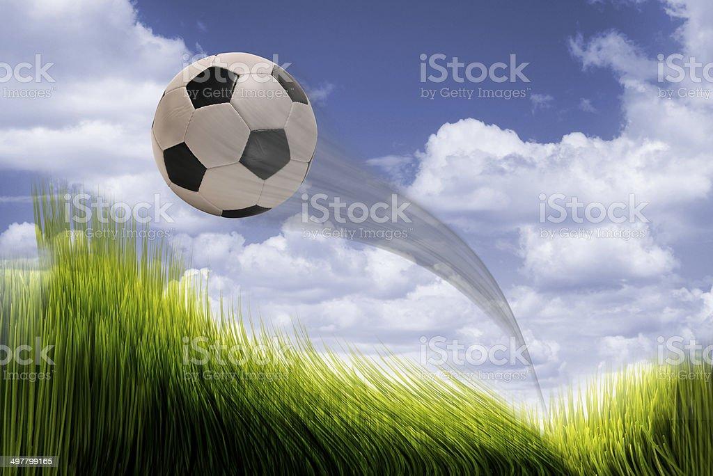 Soccer ball flying. stock photo