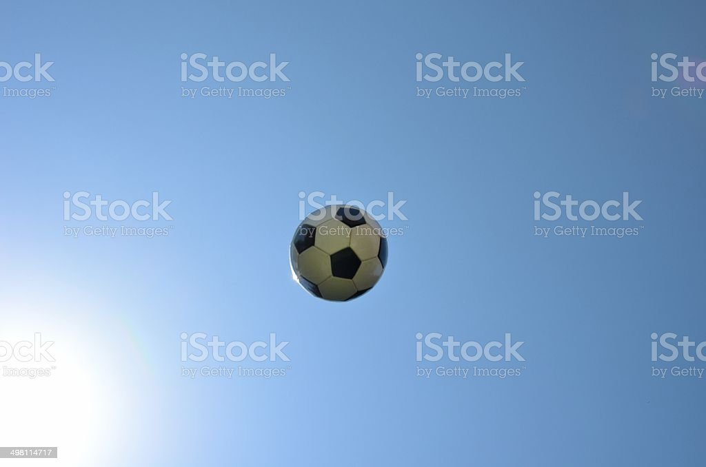 Soccer ball flying. stock photo