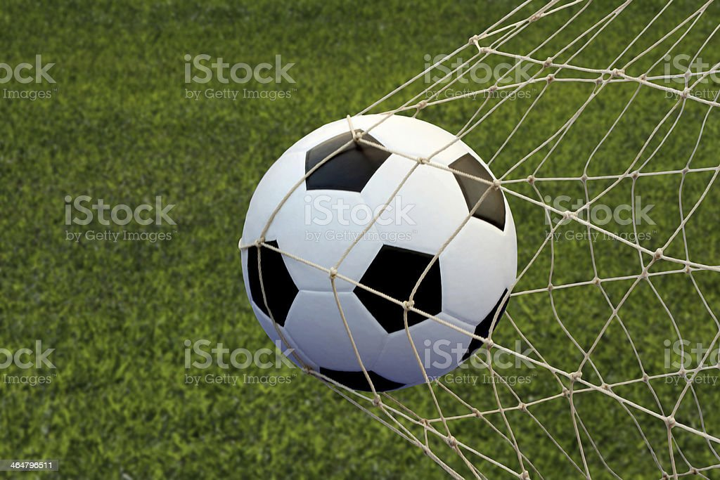 soccer ball in goal royalty-free stock photo