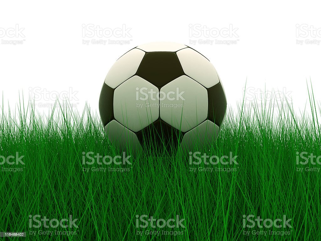 soccer ball in grass royalty-free stock photo