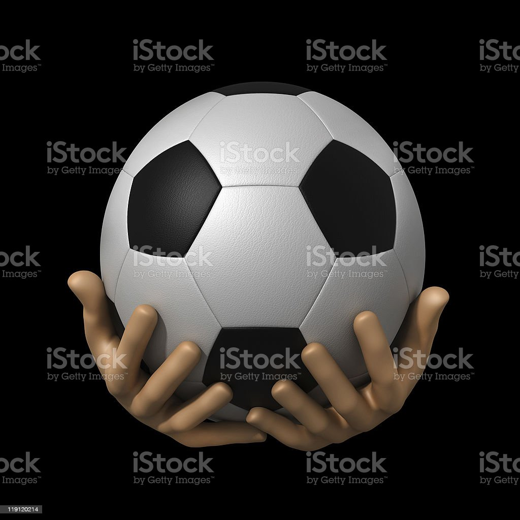 soccer ball in hands stock photo