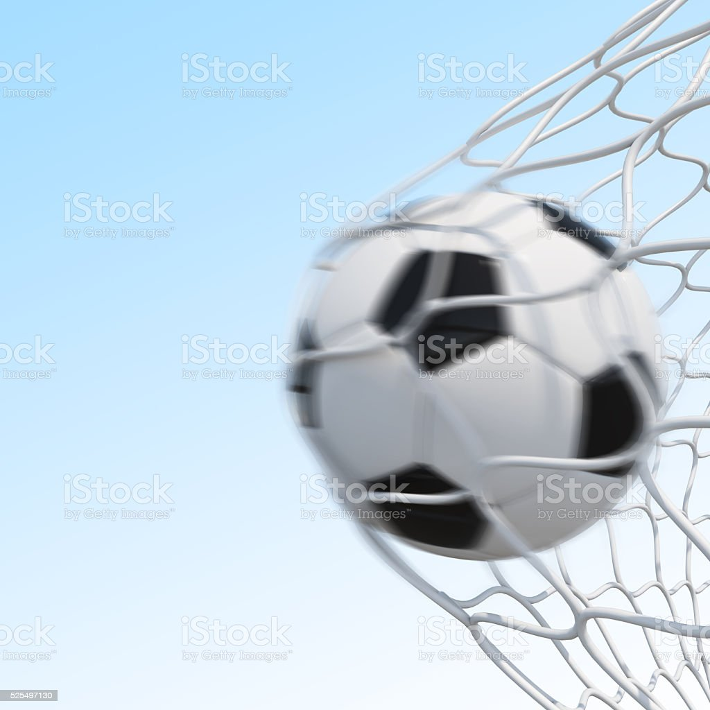 Soccer ball in motion on sky background stock photo