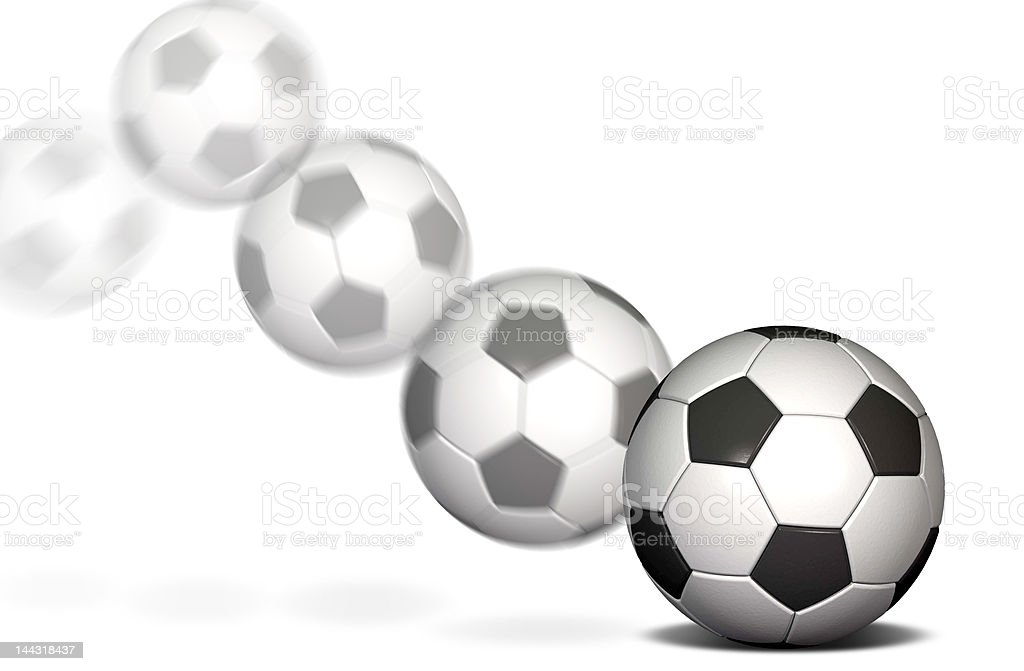 Soccer ball in motion royalty-free stock photo