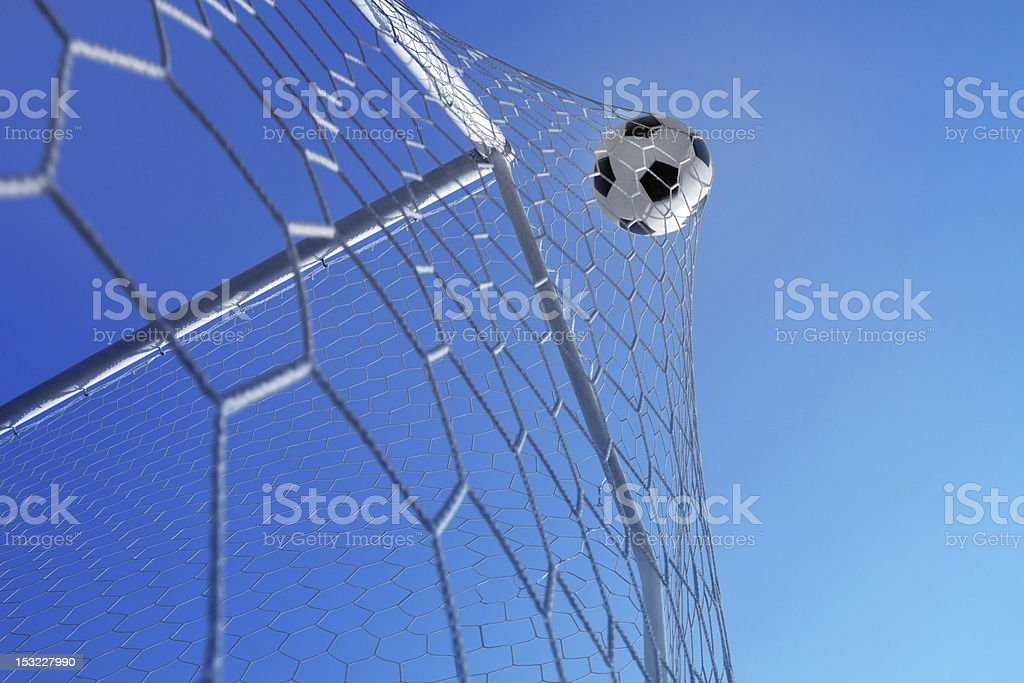 Soccer ball in net. Goal. stock photo
