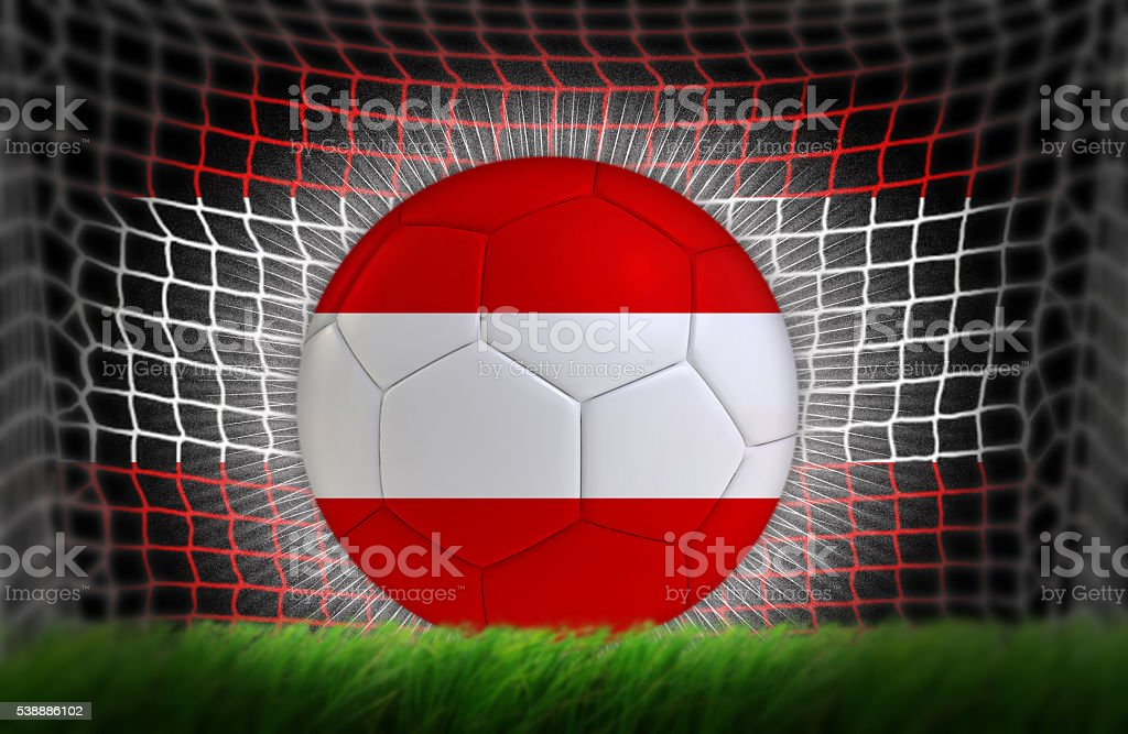 Soccer ball in net with Austrian flag stock photo