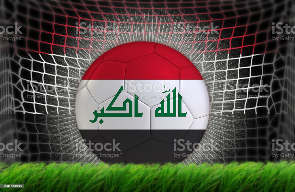 Soccer ball in net with Iraqi flag stock photo