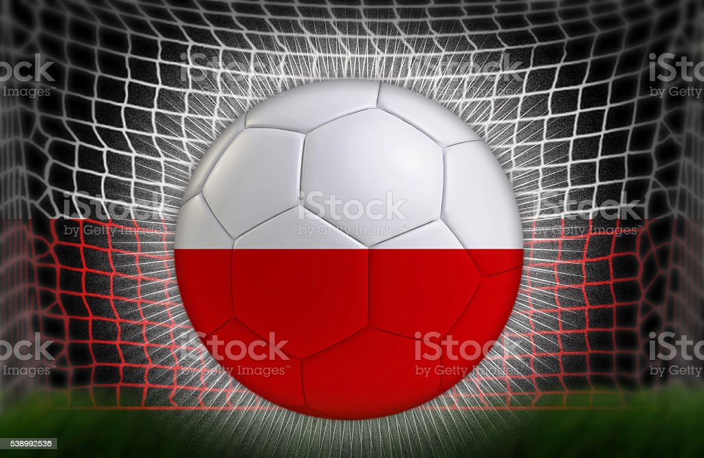 Soccer ball in net with Polish Flag stock photo