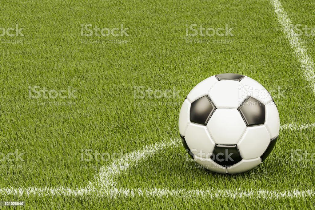 Soccer ball in the corner of football field, 3D rendering stock photo