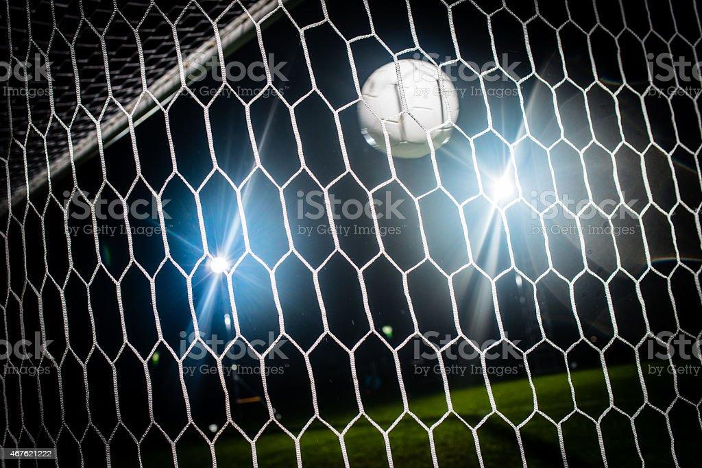 Soccer Ball In The Goal stock photo