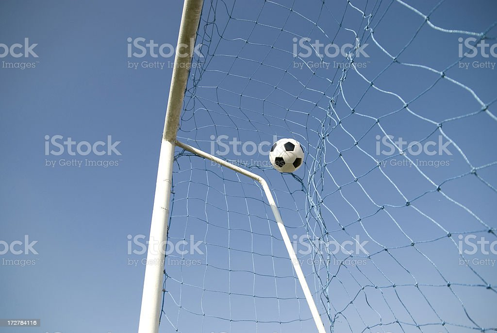 soccer ball in the net stock photo