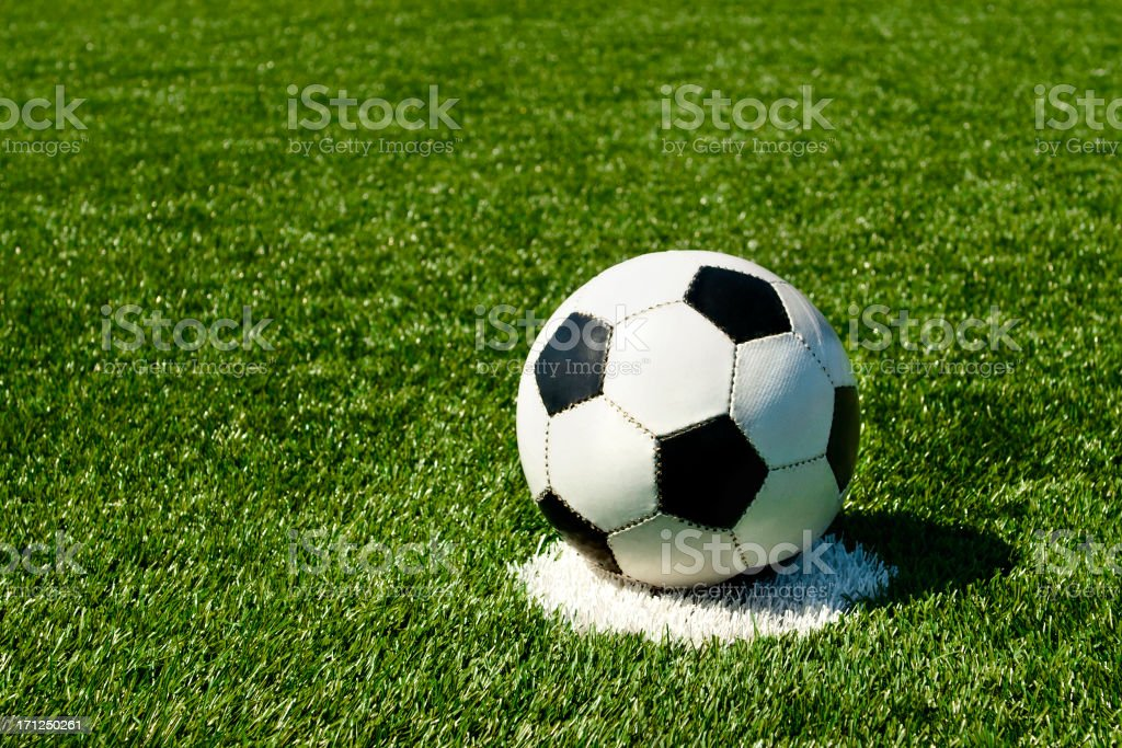Soccer ball is ready for a penalty kick stock photo