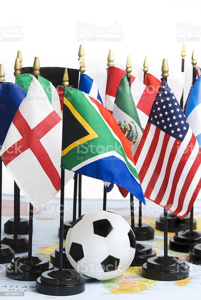 Soccer (football) ball, map of Africa and national flags stock photo