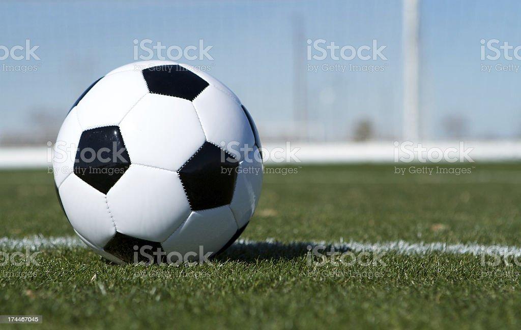 Soccer Ball near the Goal royalty-free stock photo