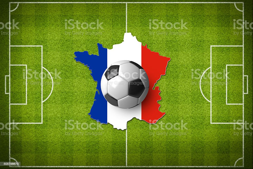 Soccer ball on a France map with a France flag. stock photo