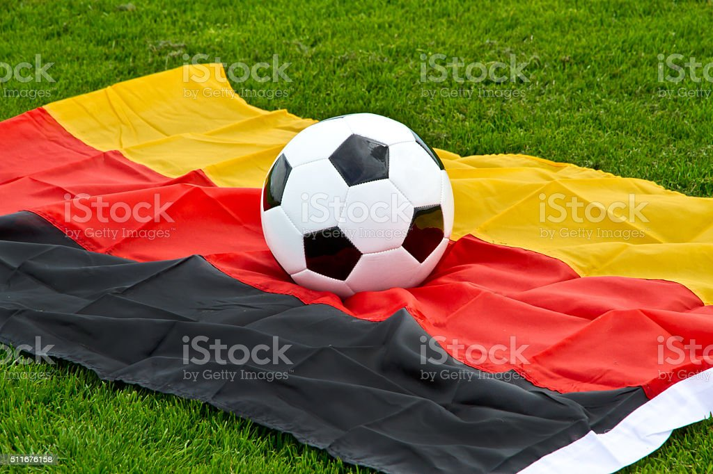 Soccer ball on a german flag stock photo