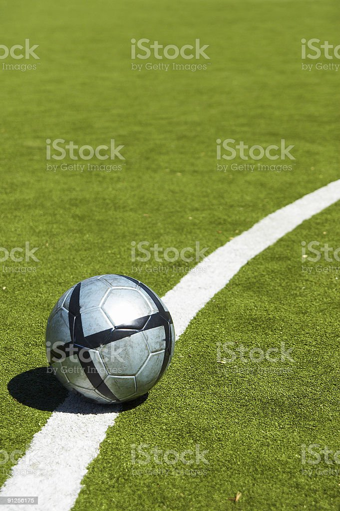 soccer ball on a line royalty-free stock photo